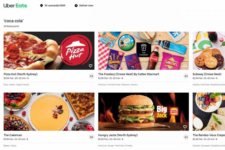 Uber eats - Coca Cola options including Pizza Hut and Hungry Jacks