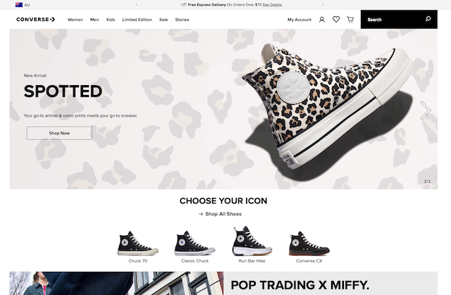 Screengrab showing the Converse.com.au home page with lots of shoe images
